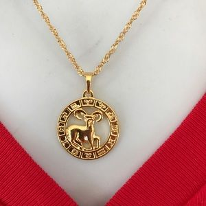 Aries Zodiac Sign 18K GF Necklace